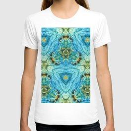 Labradorite with a geometric kaleidoscopic design T-shirt
