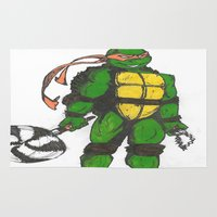 ninja turtles Area & Throw Rugs featuring Ninja Turtles Mikey by minusblindfold