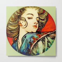 "Alphonse Mucha ""Portrait of a Young Woman"" Metal Print"