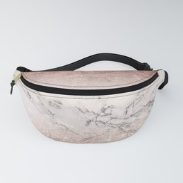 Modern faux rose gold glitter and foil ombre gradient on white marble color block Fanny Pack