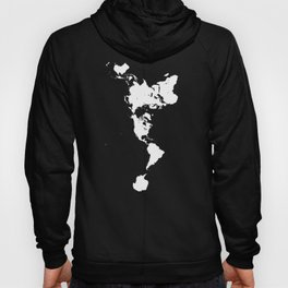 Dymaxion World Map (Fuller Projection Map) - Minimalist White on Black Hoody