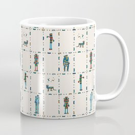Family Bots in a Grid with Buff Background Coffee Mug
