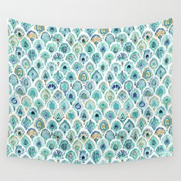 PEACOCK MERMAID Nautical Scales and Feathers Wall Tapestry