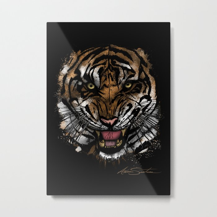 Tiger Face (Signature Design) Metal Print