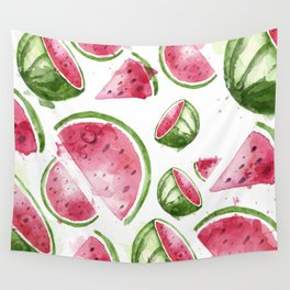 Juicy Watercolor Watermelons Wall Tapestry