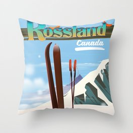 Rossland Canada travel poster Throw Pillow
