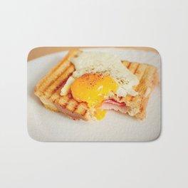 Toast with fried egg Bath Mat