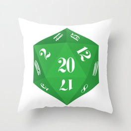 Green 20-Sided Dice Throw Pillow