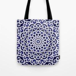 16 Fold Mandala in Blue Tote Bag