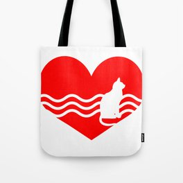 Cute Lovely Cat My Heart Tote Bag