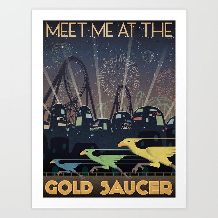 Final Fantasy VII Gold Saucer Travel Poster Kunstdrucke