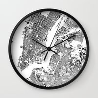 new york map Wall Clocks featuring New York Map by Maps Factory