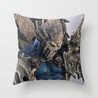 spawn Throw Pillows featuring blue Spawn by Sofia Mansilla