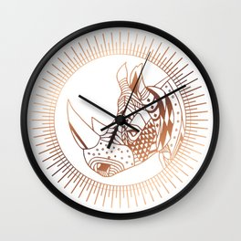 Copper Rhino Wall Clock