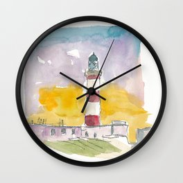 Eilean Glas Lighthouse at Sunset in Scotland Wall Clock
