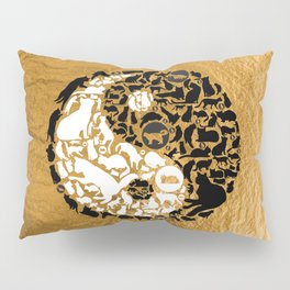 Yin-Yang Cats - Gold Pillow Sham