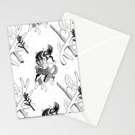 woman wolf pattern Stationery Cards
