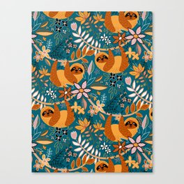 Happy Boho Sloth Floral Canvas Print
