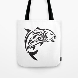 Giant Trevally Jumping Tribal Art Tote Bag
