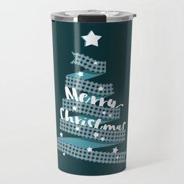 Blue Christmas Ribbon Tree Travel Mug