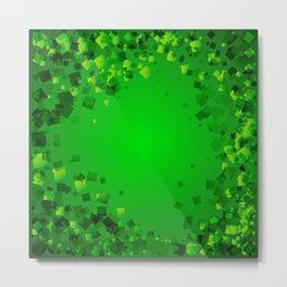Natural greeting card from green rhombuses on a green background. Metal Print