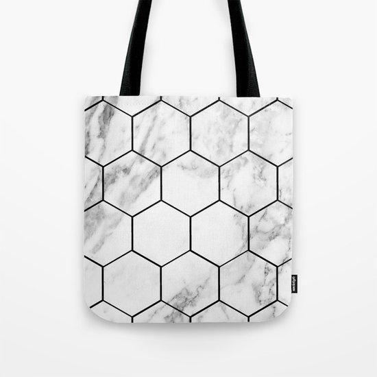 Marble hexagonal tiles - geometric beehive Tote Bag