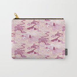 Mythical Creatures Toile in Peachy Pink Raspberry colors Carry-All Pouch