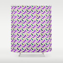 High Heels Purple glitter, marble and hearts Shower Curtain