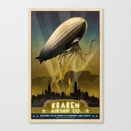 Steampunk Airship: Admiral Rosendahl Retro Travel Poster Art Print Canvas Print
