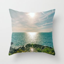 Sunlight reflected on the sea of Cap Martin in a sunny winter day Throw Pillow