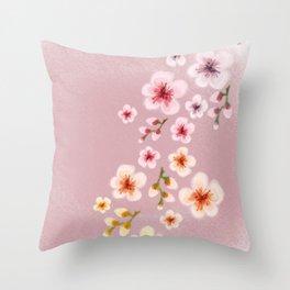 Cherry blossom storm Throw Pillow