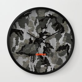 Modern Woodgrain Camouflage / Winter Birch Woodland Print Wall Clock