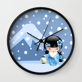 Japanese Winter Kokeshi Doll at Blue Mountain Wall Clock
