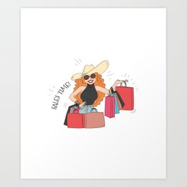Shopping Lady Cyber Monday Sale Time Art Print