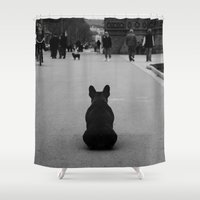 french bulldog Shower Curtains featuring French Bulldog by Erick JR