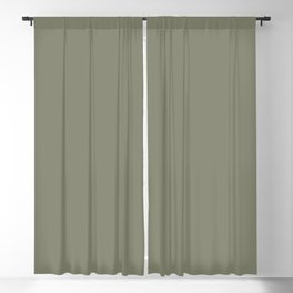 Mid-tone Sage Solid Color Pantone Oil Green 17-0115 Accent to Color of the Year 2021 Blackout Curtain
