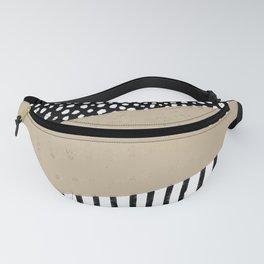 Polka Dots and Stripes Pattern (black/white/tan) Fanny Pack