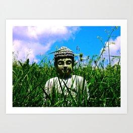 Buddha Looks Through Grass Art Print