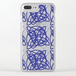 Curve1Print Blue and White Clear iPhone Case