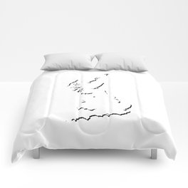 Great Britain Silhouette Shadow Map Art in Cool Black Comforters