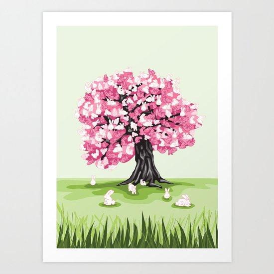 Bunny Blossom Tree Art Print