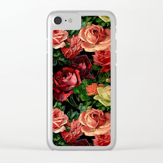 Vintage & Shabby-chic - floral roses flowers watercolor pattern II Clear iPhone Case