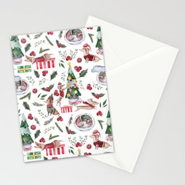 Crazy Little Dachshunds Are Decorating The Christmas Tree Stationery Cards