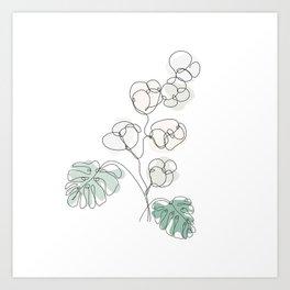 Cotton Monstera Art Print