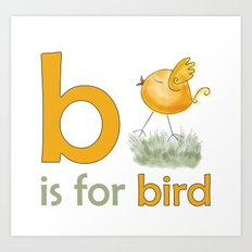 b is for bird,  children alphabet for kids room and nursery Art Print