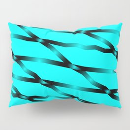 Slanting black lines and rhombuses on light blue with intersection of glare. Pillow Sham