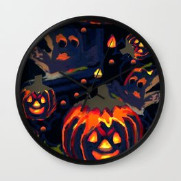 Spooky Night of Ghost and Jackolanterns by Lorloves Design Wall Clock