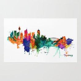 Sydney watercolor skyline Rug