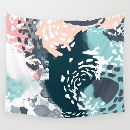 August - Abstract modern painting in bold colors for trendy feminine style Wall Tapestry