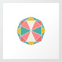 polygon Art Prints featuring Polygon by Juste Pixx Designs